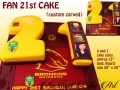 FAN 21ST CAKE CUSTOM CARVED