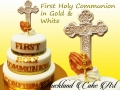 FIRST HOLY COMMUNION IN GOLD AND WHITE